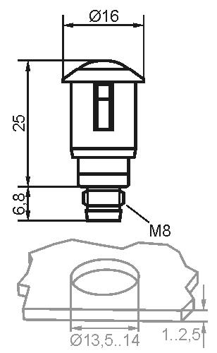 Maßzeichnung vom Sensor SSP mit 3-poligem Stecker M8
