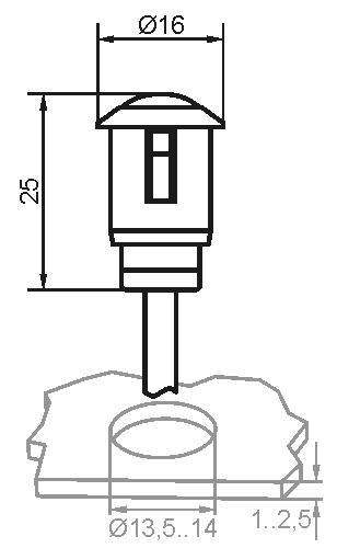 Maßzeichnung vom Sensor SSP in der Kabelversion