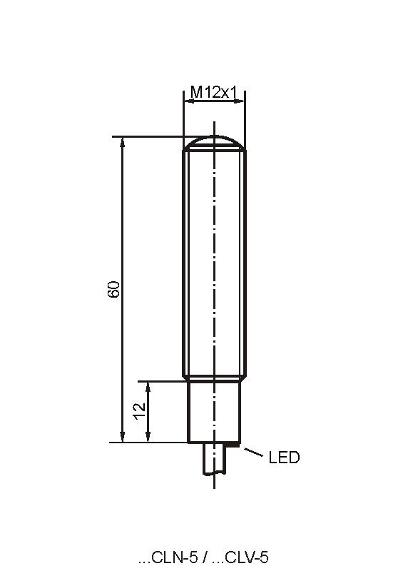 Maßzeichnung vom Sender der Bauform CLN/CLV mit Kabel