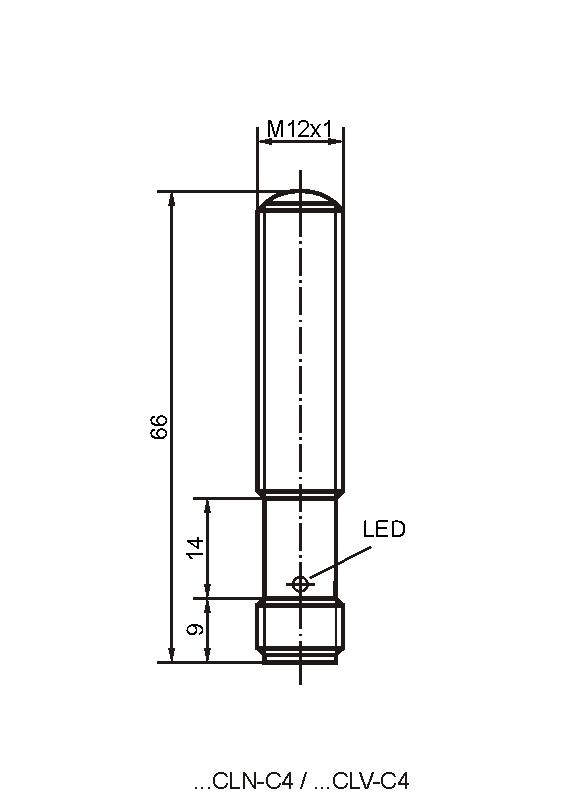 Maßzeichnung vom Sender der Bauform CLN/CLV mit Stecker M12