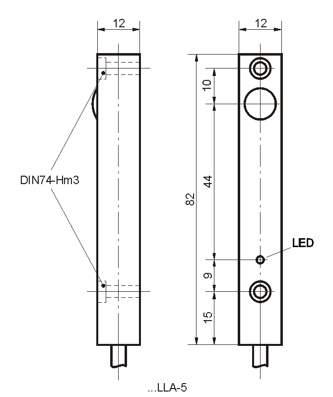 Maßzeichnung vom Sender der Bauform LLA mit Kabel