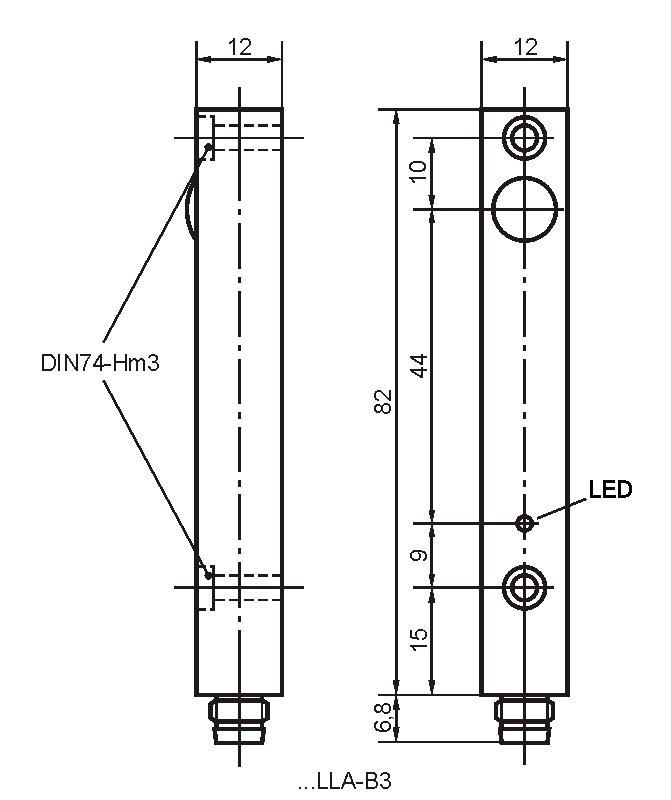 Maßzeichnung vom Empfänger der Bauform LLA mit Stecker M8