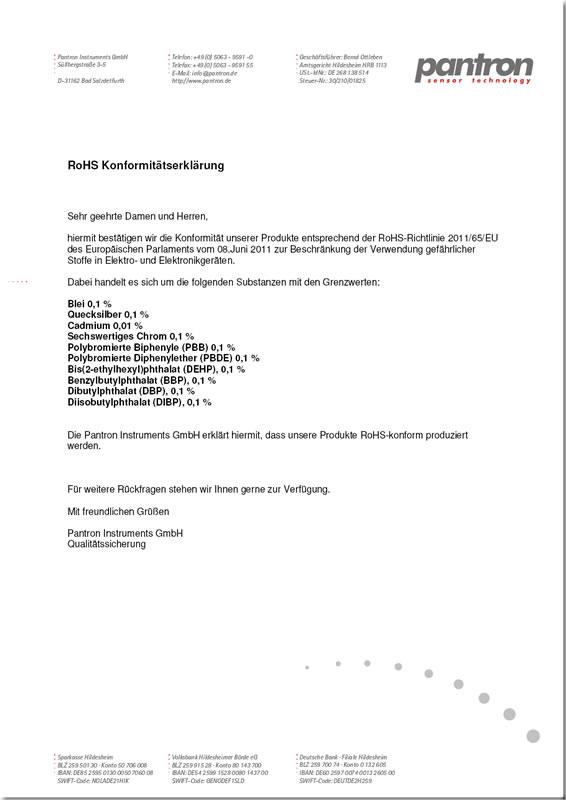 RoHS Konformitätserklärung